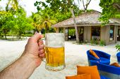 A Glass Of Cold Beer On A Hot Day At The Beach, On The Shores Of A Tropical, Fabulous Sea. Maldives  poster
