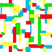 Multicolored Geometric Seamless Pattern. Red, Blue, Green, Yellow Rectangles And Squares On A White  poster