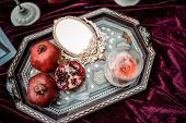 Wedding Decorated Table With Red Garnet. Festive Table Setting. Wedding Decor. Table Setting In Fine poster