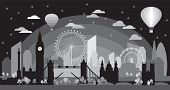 London City At Sundown Skyline Silhouette Vector Illustration In Black And Grey Colors Isolated On B poster