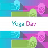 Vector Yoga Poster Or Template Of Placard For International Yoga Day, Yoga Studio With Yoga Mats And poster