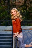 Fashionable Clothes. Girl Gorgeous Blonde. Femininity And Tenderness. Autumn Stylish Outfit. Fall Fa poster