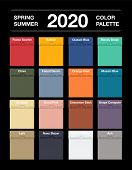 Spring And Summer 2020 Colors Palette On Black. Fashion Trend Guide. Palette Fashion Colors Guide Wi poster