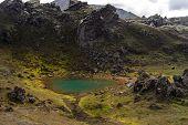 Volcanic Landscape With Green Lake On The Laugavegur Trail. Landmannalaugar, Iceland poster
