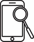 Black Line Mobile Phone Diagnostics Icon Isolated On White Background. Adjusting App, Service, Setti poster
