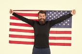 Hooray, Its Independence Day. Bearded Man Holding American Flag On Independence Day. Happy Hipster C poster