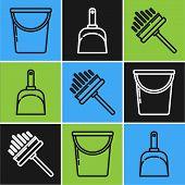 Set Line Bucket , Squeegee, Scraper, Wiper And Dustpan Icon. Vector poster