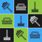 Set Line Squeegee, Scraper, Wiper, Mop And Brush For Cleaning Icon. Vector poster