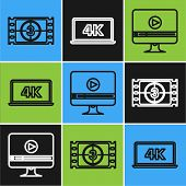 Set Line Play Video , Online Play Video And Laptop Screen With 4k Video Technology Icon. Vector poster
