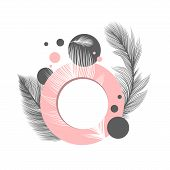 White Fluffy Feathers On Pink Circle Frame, Vector Abstract Background. Fluffy Feathers And Plumage  poster