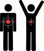 Stick Men Arms At Sides And Arms Up With Targets. poster