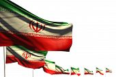 Nice Iran Isolated Flags Placed Diagonal, Illustration With Bokeh And Place For Text - Any Feast Fla poster