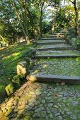 Stone Staircase In The Beautiful And Idyllic Crystal Palace Garden In Oporto, Portugal poster
