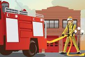 stock photo of firehouse  - A vector illustration of a fireman working pulling out the hose from his fire truck - JPG