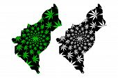 Dosso Region (regions Of Niger, Republic Of The Niger) Map Is Designed Cannabis Leaf Green And Black poster
