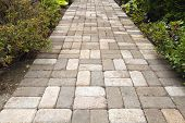 picture of azalea  - Garden Brick Pavers Path Walkway with Basket Weave Pattern - JPG