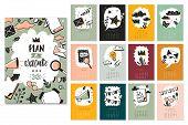 Bullet Journal Doodle Calendar Months Set. New Year 2020 Calendar Template Design With Bullet Doodle poster