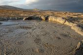 Mud Volcanoes Of Gobustan Near Baku, Azerbaijan, Bubbling Crater Of A Mud Volcano poster