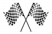 pic of dragster  - vector symbol of crossed racing flags on white background - JPG