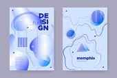 Blue Abstract Memphis Brochure. Summer Flow Shape. Liquid Pattern. Vector Business Template. Abstrac poster