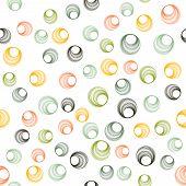 Green Orange Circle Rings Textile Print. Round Shape Geometric Elements Vector Seamless Pattern. Cir poster