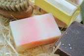 Handmade Natural Soap On Wooden Background. Spa Natural Treatments.natural Soap, Handmade Organic Na poster