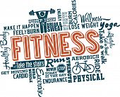 Fitness en gezond Word en pictogram Cloud
