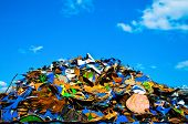stock photo of reuse recycle  - Colorful pile of metal waste on a recycling plant - JPG