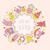 baby vector card. Cartoon childish elements - baby carriage, stork, hare, bear, rattle and other in
