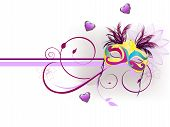 picture of carnivale  - vector illustration of a carnivale mask on an abstract floral background - JPG