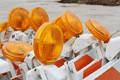 picture of flashers  - Traffic barricades with orange flashers - JPG