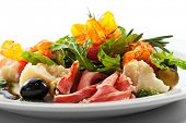 European Plate - Serrano Ham, Parmesan, Vegetables, Ruccola and Baked Tomato