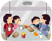 stock photo of stickman  - Illustration of Stickman Family dining in a Fastfood - JPG