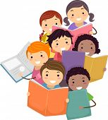 stock photo of stickman  - Illustration of Stickman Kids reading Books - JPG