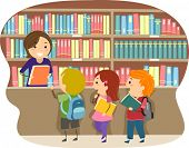 pic of librarian  - Illustration of Kids in a Library - JPG
