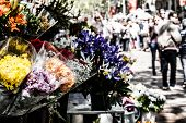 Постер, плакат: Жизнь улицы Лас Рамблас Барселона от рынка цветы