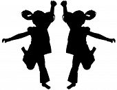 image of exaltation  - Silhouette of kids jumping up in the air - JPG
