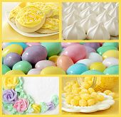 Collage of sweet treats in pastel colors includes lemon sugar cookies, meringue cookies, frosted cak
