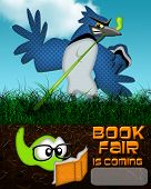 picture of bookworm  - Humorous illustration of bookworm being pulled from reading by bird from above - JPG