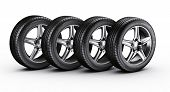 picture of four-wheel  - 3d rendering of a 4 car tires on a white background - JPG