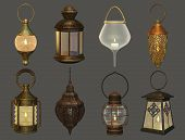 stock photo of kerosene lamp  - eight different isolated lamps in retro style - JPG