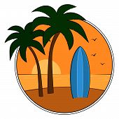 stock photo of sunset beach  - Vector illustration of blue surfboard on tropical beach at sunset - JPG