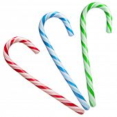 pic of desert christmas  - Mint hard candy cane striped in Christmas colours isolated on a white background - JPG