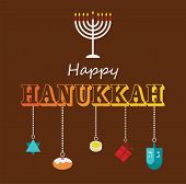 image of hanukkah  - Happy Hanukkah greeting card design with hanukah objects - JPG