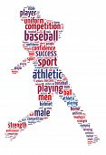 foto of infield  - Words illustration of a baseball player over white background - JPG
