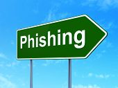 Safety concept: Phishing on road sign background