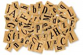 stock photo of cubit  - letters cut out of newspaper on white background - JPG