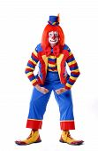 image of circus clown  - male clown striking a wrestling pose - JPG