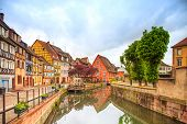 picture of alsatian  - Colmar Petit Venice water canal and traditional colorful houses - JPG