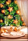 stock photo of christmas dinner  - Christmas table setting - JPG